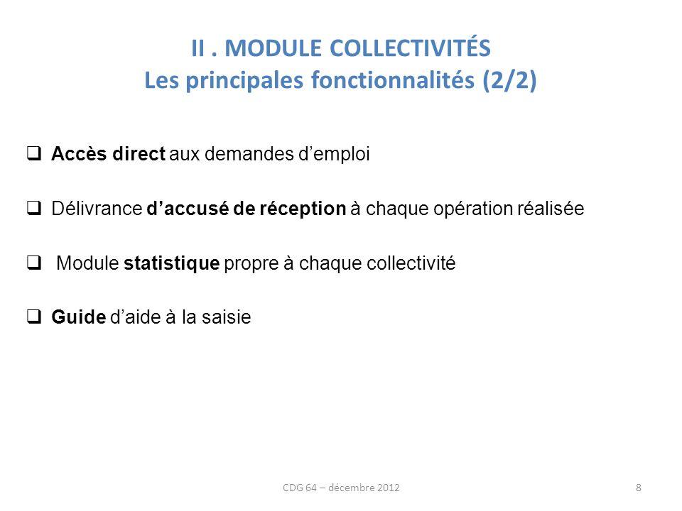 II. MODULE COLLECTIVITÉS Les principales fonctionnalités (2/2) Accès direct aux demandes demploi Délivrance daccusé de réception à chaque opération ré