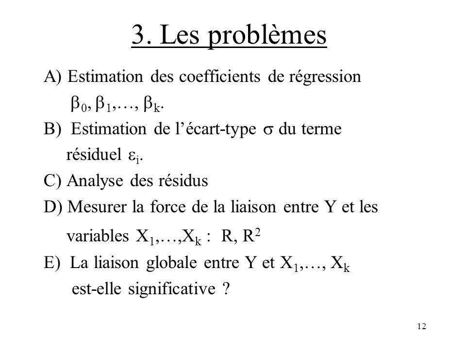 12 3. Les problèmes A) Estimation des coefficients de régression 0, 1,…, k. B) Estimation de lécart-type du terme résiduel i. C) Analyse des résidus D