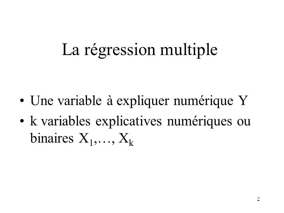 2 La régression multiple Une variable à expliquer numérique Y k variables explicatives numériques ou binaires X 1,…, X k