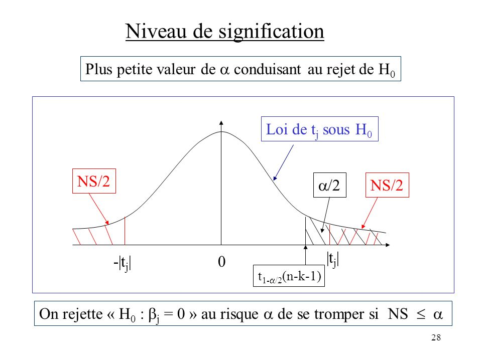 28 Niveau de signification On rejette « H 0 : j = 0 » au risque de se tromper si NS 0 |t j | -|t j | Loi de t j sous H 0 NS/2 Plus petite valeur de co