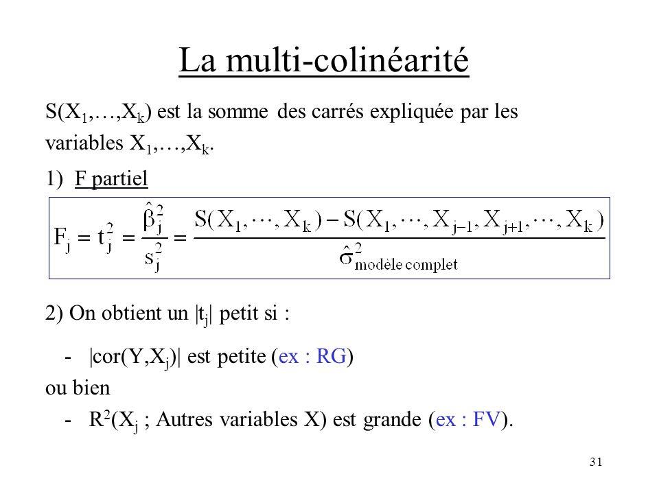 31 La multi-colinéarité S(X 1,…,X k ) est la somme des carrés expliquée par les variables X 1,…,X k. 1) F partiel 2) On obtient un |t j | petit si : -