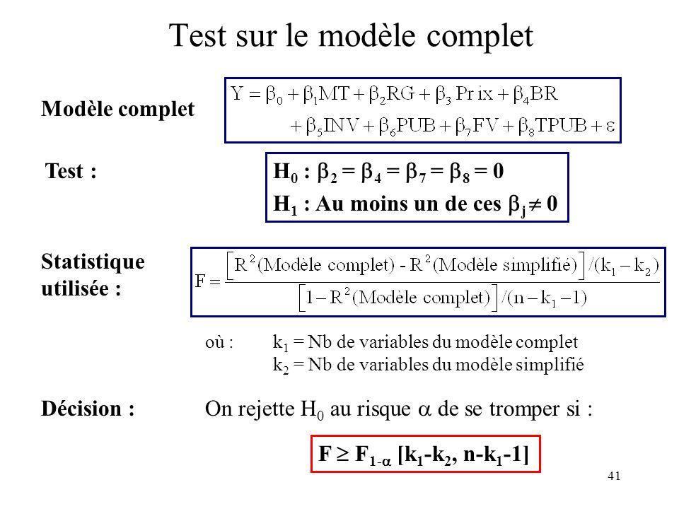41 Test sur le modèle complet Modèle complet Test : Statistique utilisée : H 0 : 2 = 4 = 7 = 8 = 0 H 1 : Au moins un de ces j 0 où : k 1 = Nb de varia