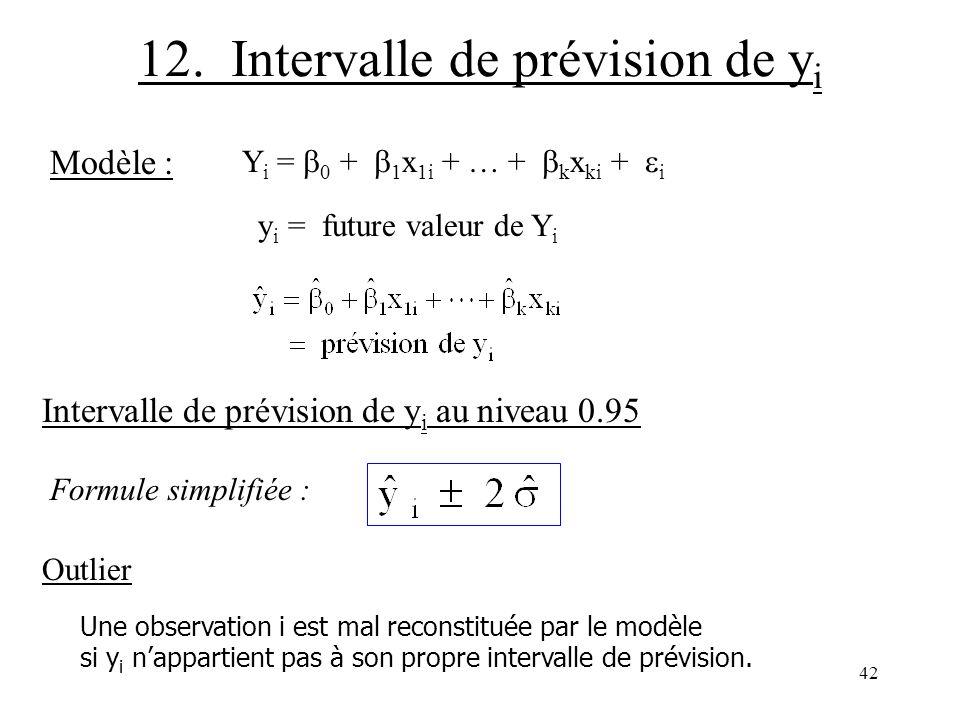 42 12. Intervalle de prévision de y i Modèle : Y i = 0 + 1 x 1i + … + k x ki + i y i = future valeur de Y i Intervalle de prévision de y i au niveau 0