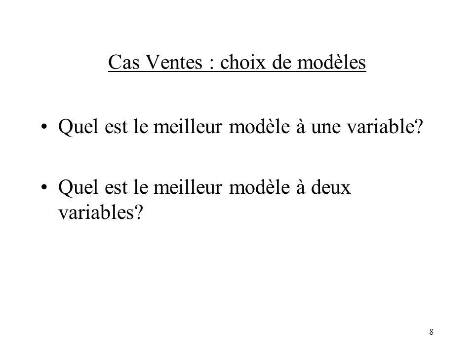 8 Cas Ventes : choix de modèles Quel est le meilleur modèle à une variable? Quel est le meilleur modèle à deux variables?