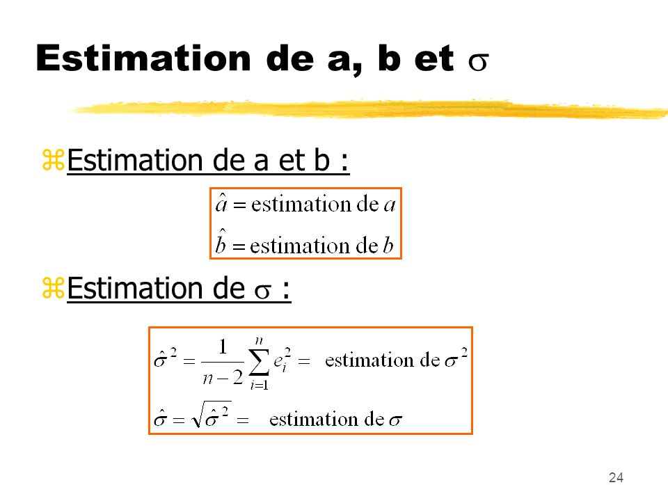 24 Estimation de a, b et zEstimation de a et b : zEstimation de :