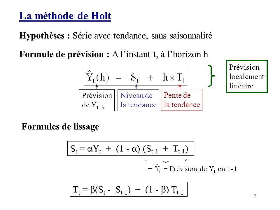17 La méthode de Holt Hypothèses : Série avec tendance, sans saisonnalité Formule de prévision : A linstant t, à lhorizon h Prévision de Y t+h Niveau