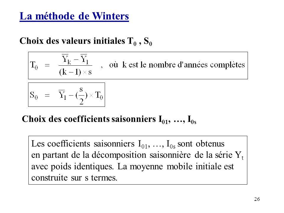 26 La méthode de Winters Choix des valeurs initiales T 0, S 0 Choix des coefficients saisonniers I 01, …, I 0s Les coefficients saisonniers I 01, …, I