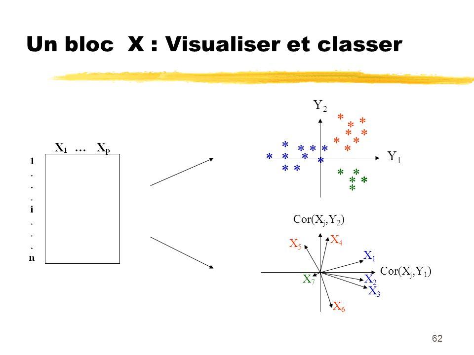62 Un bloc X : Visualiser et classer Y1Y1 Y2Y2 * * * * * * * * * * * * * * * * * * * * * * * * Cor(X j,Y 1 ) Cor(X j,Y 2 ) X1X1 X2X2 X3X3 X4X4 X5X5 X6X6 X7X7