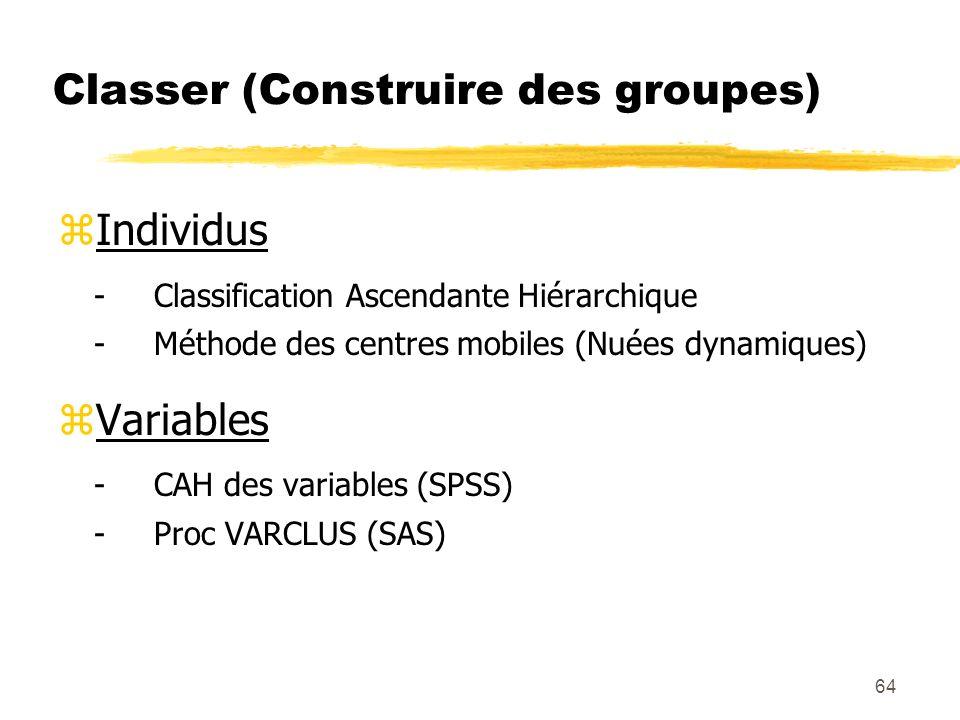 64 Classer (Construire des groupes) zIndividus -Classification Ascendante Hiérarchique -Méthode des centres mobiles (Nuées dynamiques) zVariables -CAH des variables (SPSS) -Proc VARCLUS (SAS)