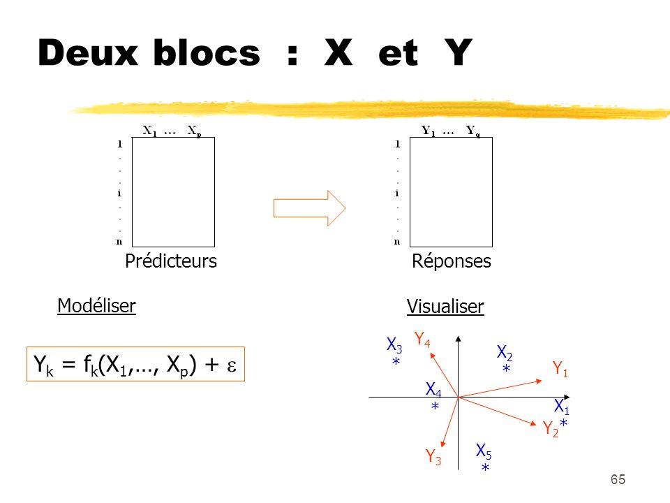 65 Deux blocs : X et Y PrédicteursRéponses Modéliser Y k = f k (X 1,…, X p ) + Visualiser Y1Y1 Y2Y2 Y4Y4 Y3Y3 X 2 * X 3 * X 5 * X 4 * X 1 *