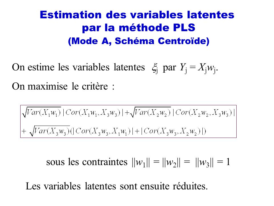 Estimation des variables latentes par la méthode PLS (Mode A, Schéma Centroïde) On maximise le critère : sous les contraintes ||w 1 || = ||w 2 || = ||