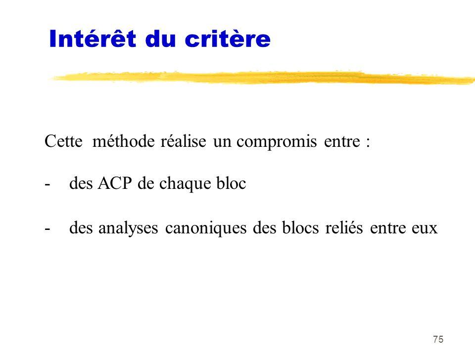 75 Intérêt du critère Cette méthode réalise un compromis entre : - des ACP de chaque bloc - des analyses canoniques des blocs reliés entre eux