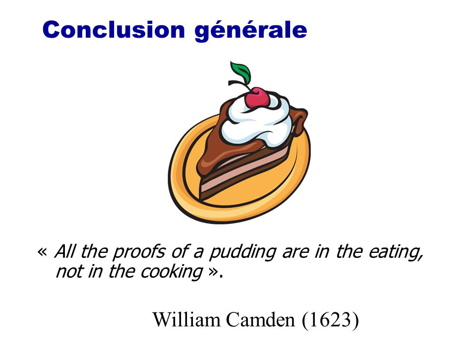 Conclusion générale « All the proofs of a pudding are in the eating, not in the cooking ». William Camden (1623)