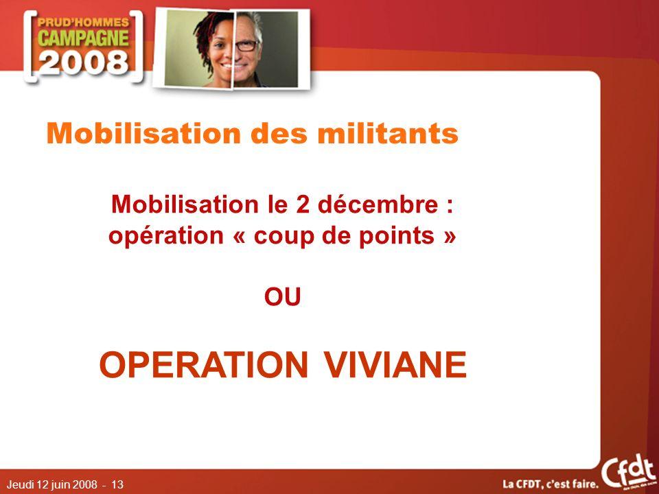Jeudi 12 juin 2008 - 13 Mobilisation des militants Mobilisation le 2 décembre : opération « coup de points » OU OPERATION VIVIANE