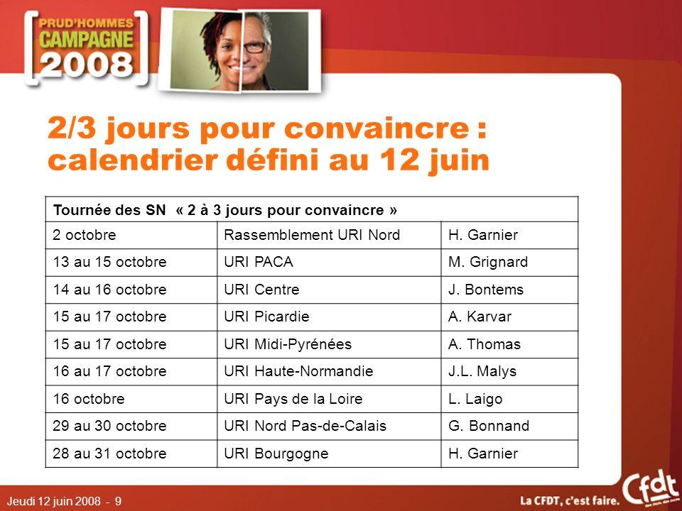Jeudi 12 juin 2008 - 10 2/3 jours pour convaincre : calendrier défini au 12 juin Tournée des SN « 2 à 3 jours pour convaincre » 3 au 5 novembreURI AlsaceH.