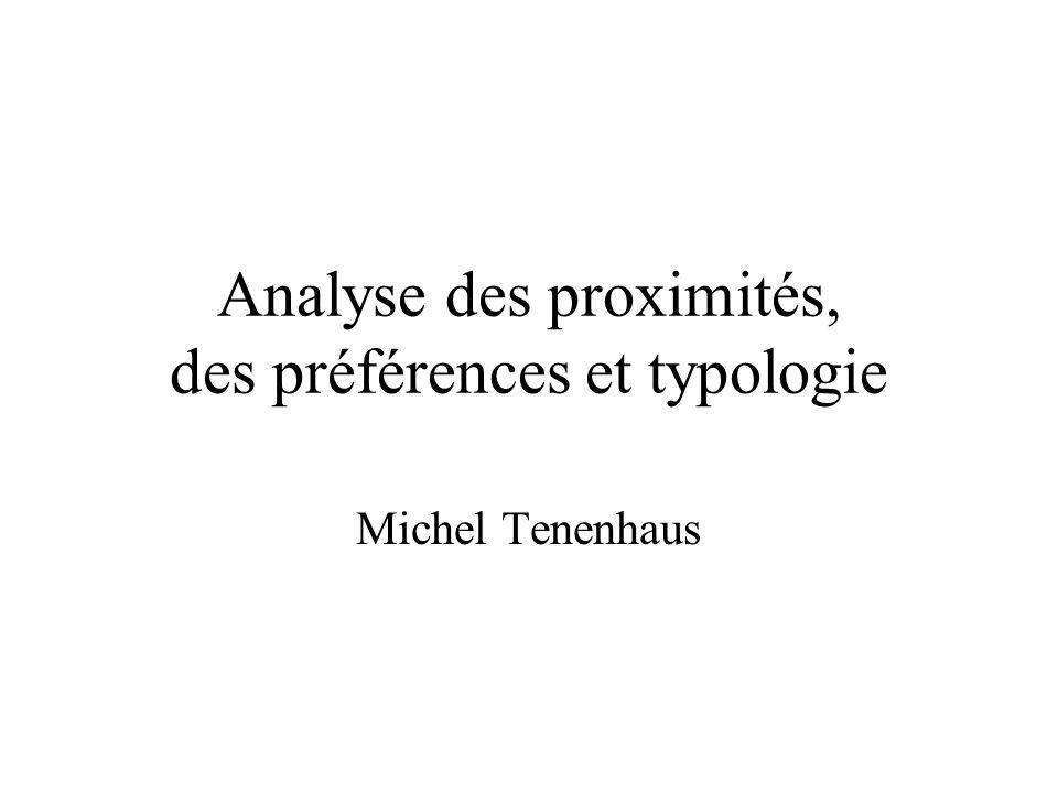 Analyse des proximités, des préférences et typologie Michel Tenenhaus