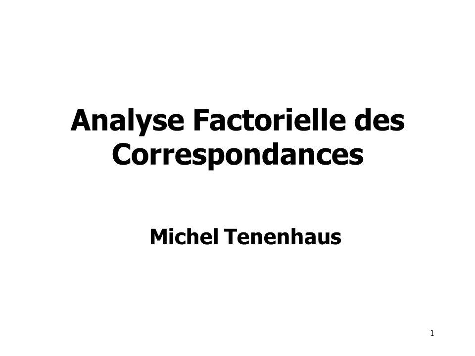 1 Analyse Factorielle des Correspondances Michel Tenenhaus