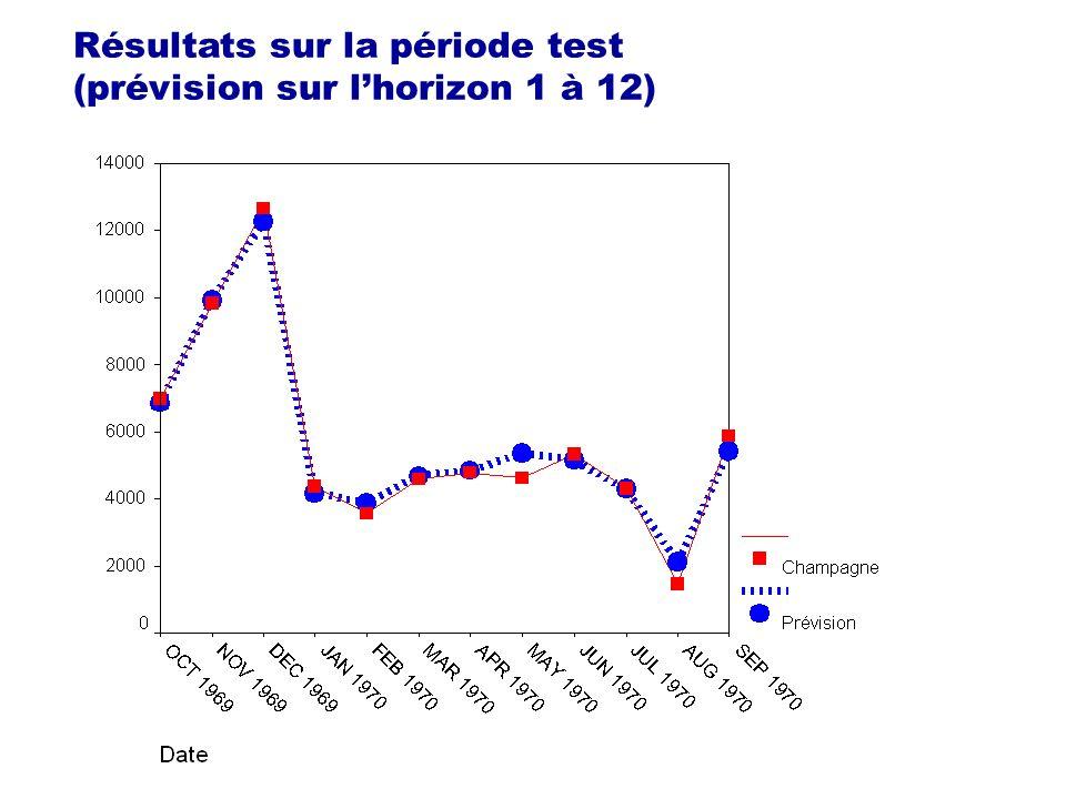 Résultats sur la période test (prévision sur lhorizon 1 à 12)