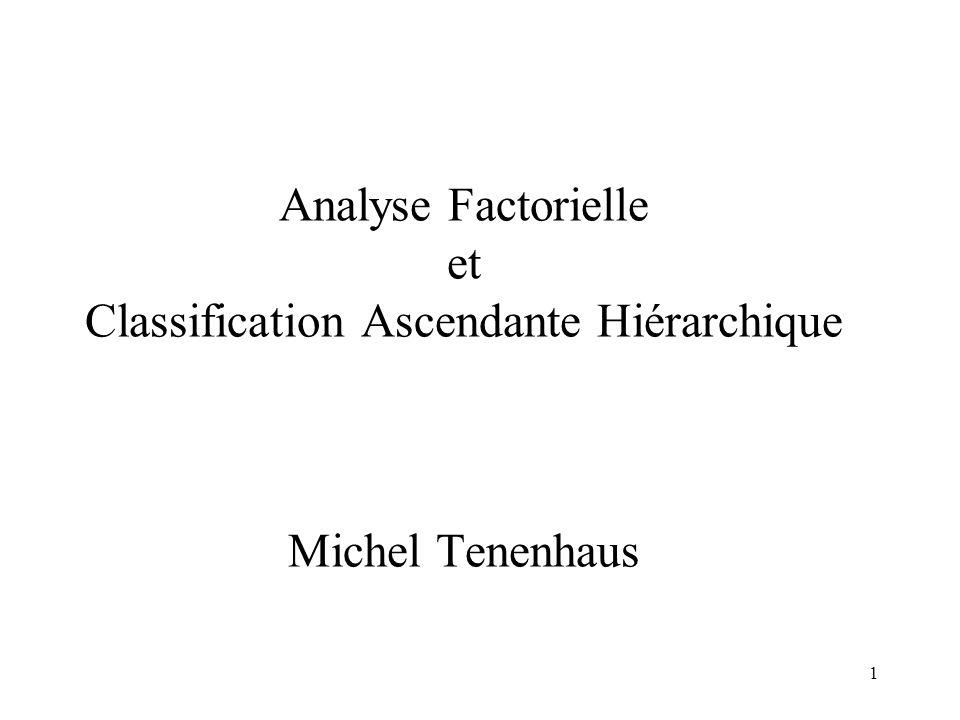 1 Analyse Factorielle et Classification Ascendante Hiérarchique Michel Tenenhaus