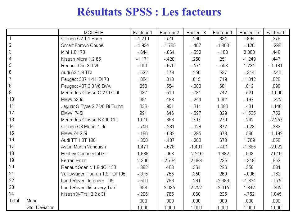 19 Résultats SPSS : Les facteurs