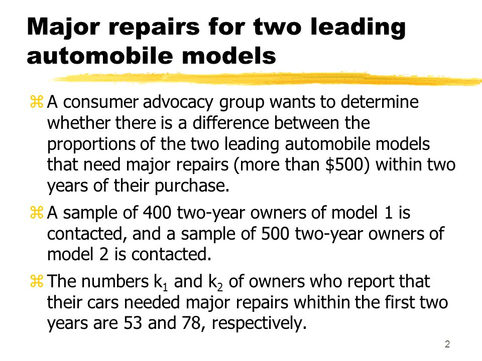 2 Major repairs for two leading automobile models zA consumer advocacy group wants to determine whether there is a difference between the proportions