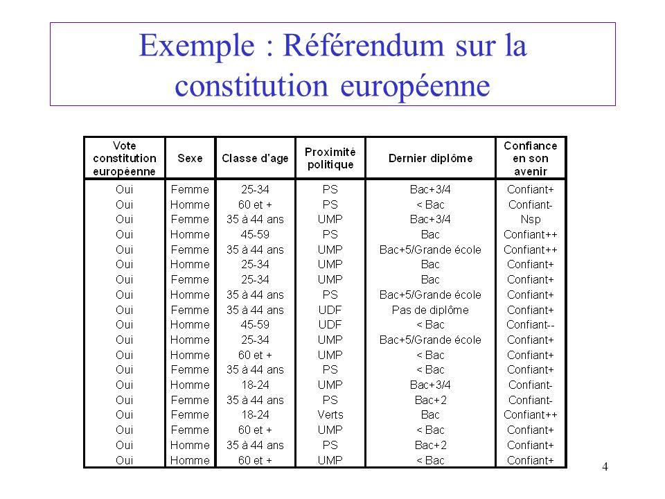 4 Exemple : Référendum sur la constitution européenne