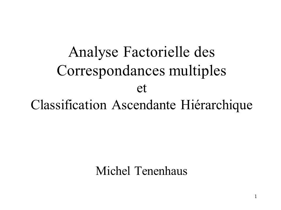 1 Analyse Factorielle des Correspondances multiples et Classification Ascendante Hiérarchique Michel Tenenhaus