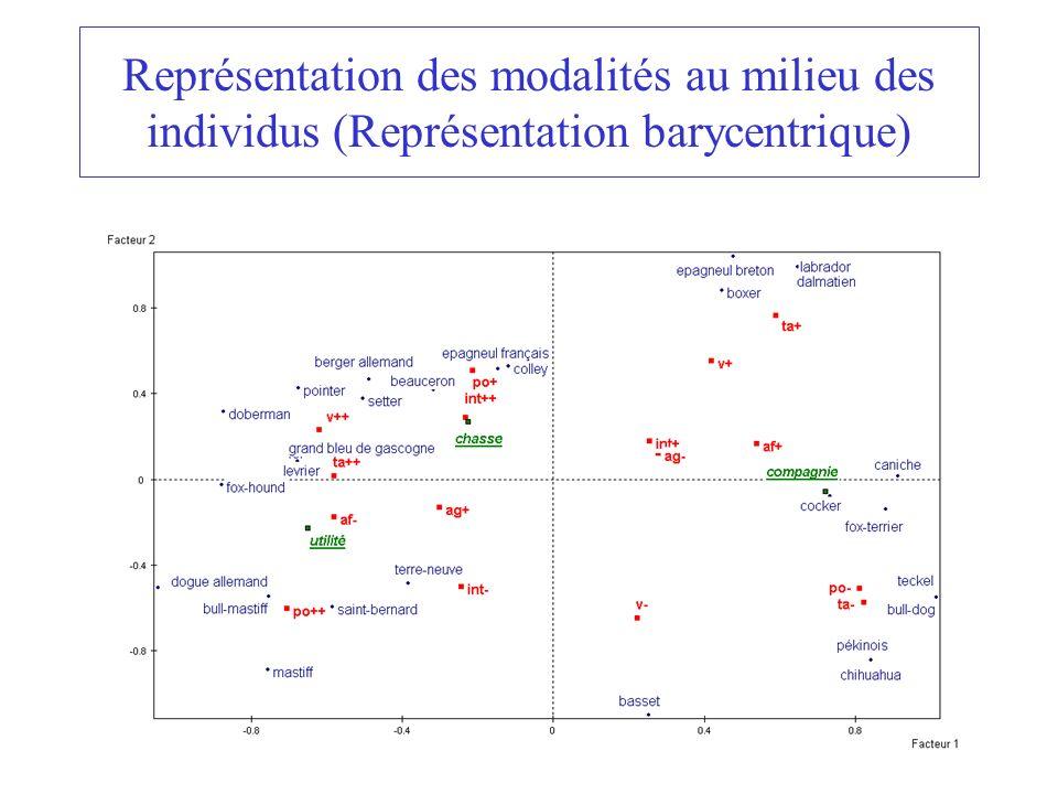 23 Représentation des modalités au milieu des individus (Représentation barycentrique)