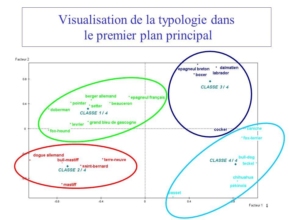 34 Visualisation de la typologie dans le premier plan principal