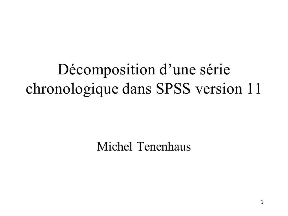 1 Décomposition dune série chronologique dans SPSS version 11 Michel Tenenhaus