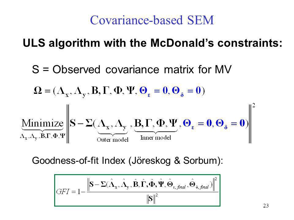 23 Covariance-based SEM ULS algorithm with the McDonalds constraints: S = Observed covariance matrix for MV Goodness-of-fit Index (Jöreskog & Sorbum):