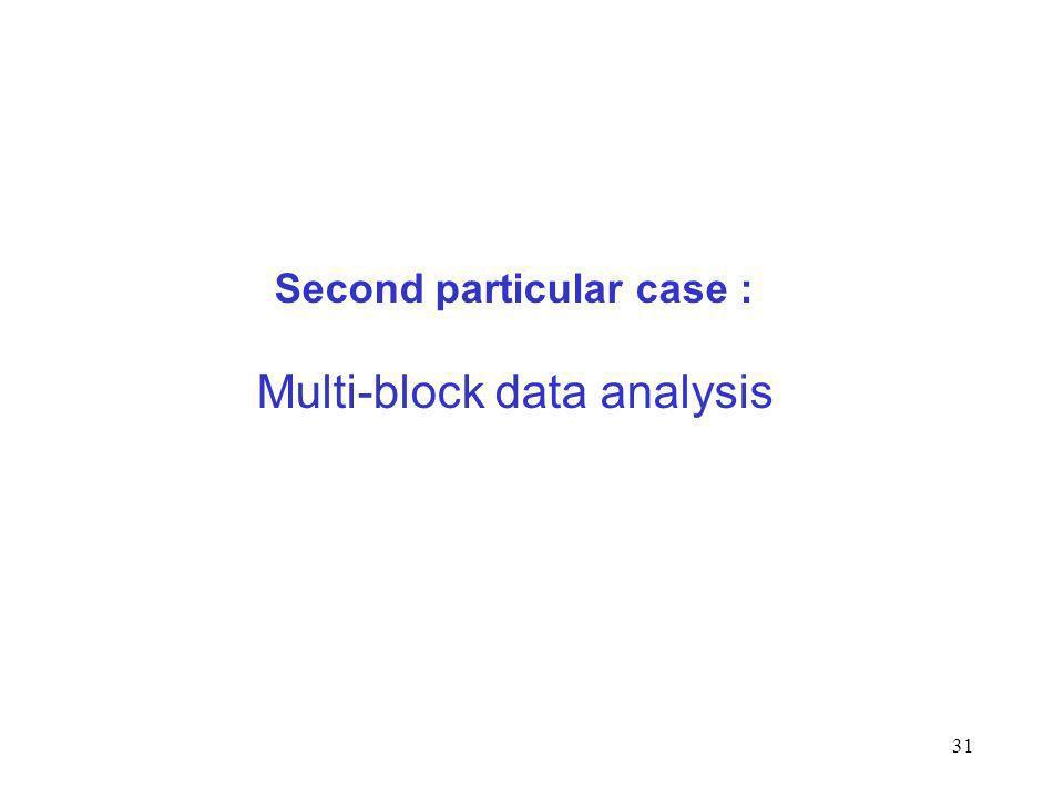 31 Second particular case : Multi-block data analysis