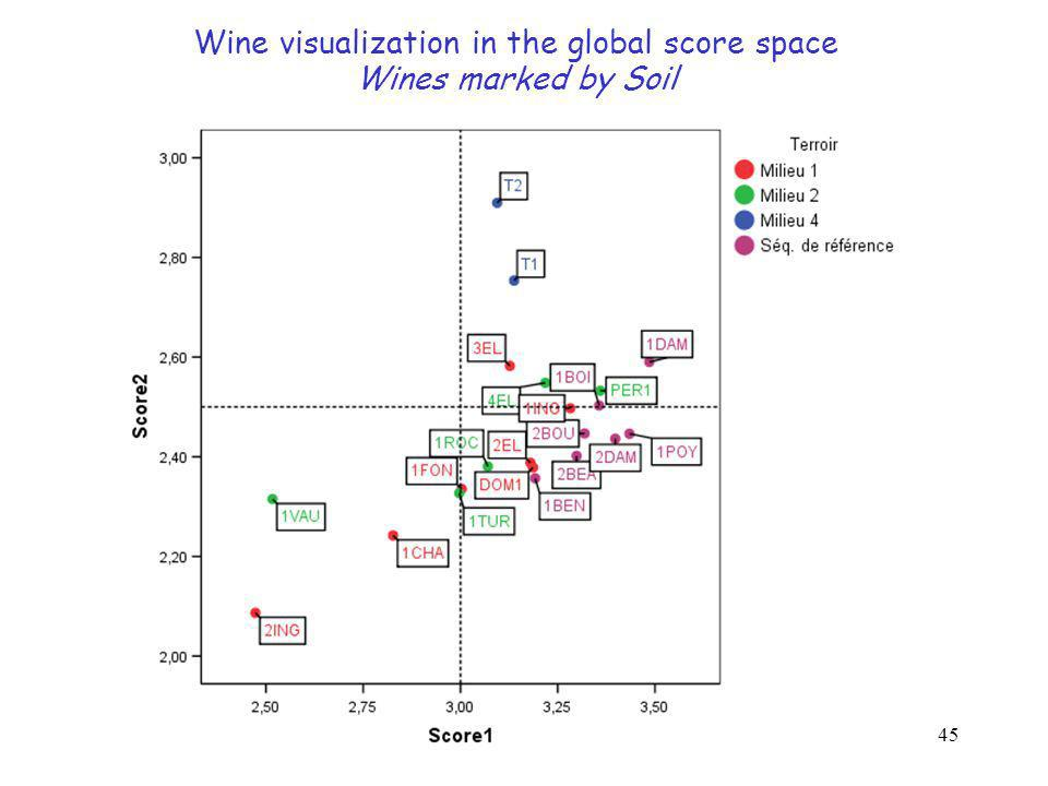 45 Wine visualization in the global score space Wines marked by Soil