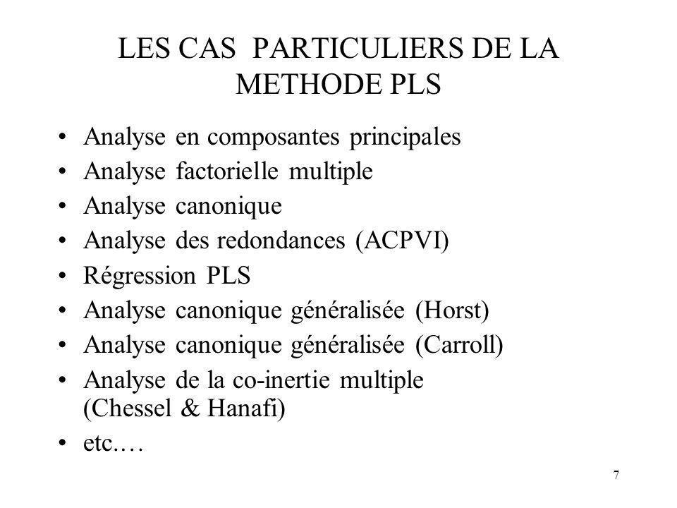 7 LES CAS PARTICULIERS DE LA METHODE PLS Analyse en composantes principales Analyse factorielle multiple Analyse canonique Analyse des redondances (AC