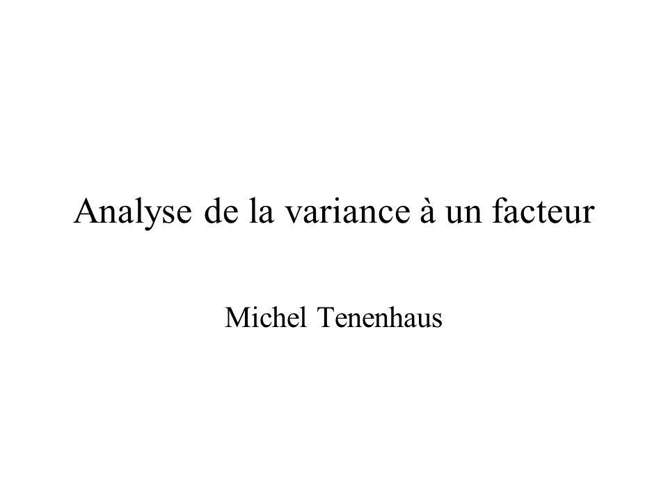 Analyse de la variance à un facteur Michel Tenenhaus