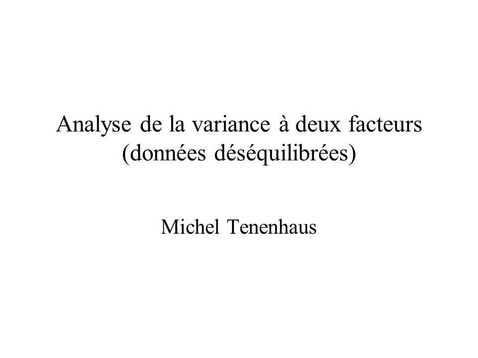 Analyse de la variance à deux facteurs (données déséquilibrées) Michel Tenenhaus