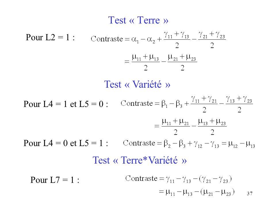 37 Test « Terre » Pour L2 = 1 : Test « Variété » Pour L4 = 1 et L5 = 0 : Pour L4 = 0 et L5 = 1 : Test « Terre*Variété » Pour L7 = 1 :