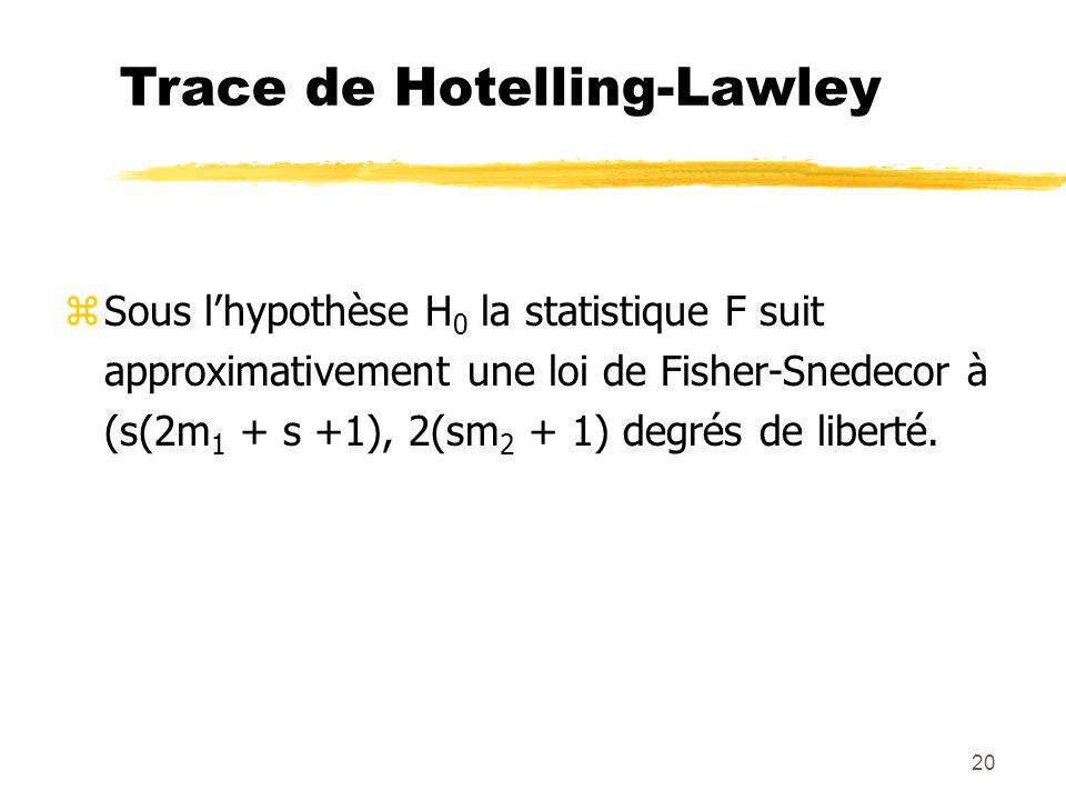 20 Trace de Hotelling-Lawley zSous lhypothèse H 0 la statistique F suit approximativement une loi de Fisher-Snedecor à (s(2m 1 + s +1), 2(sm 2 + 1) degrés de liberté.