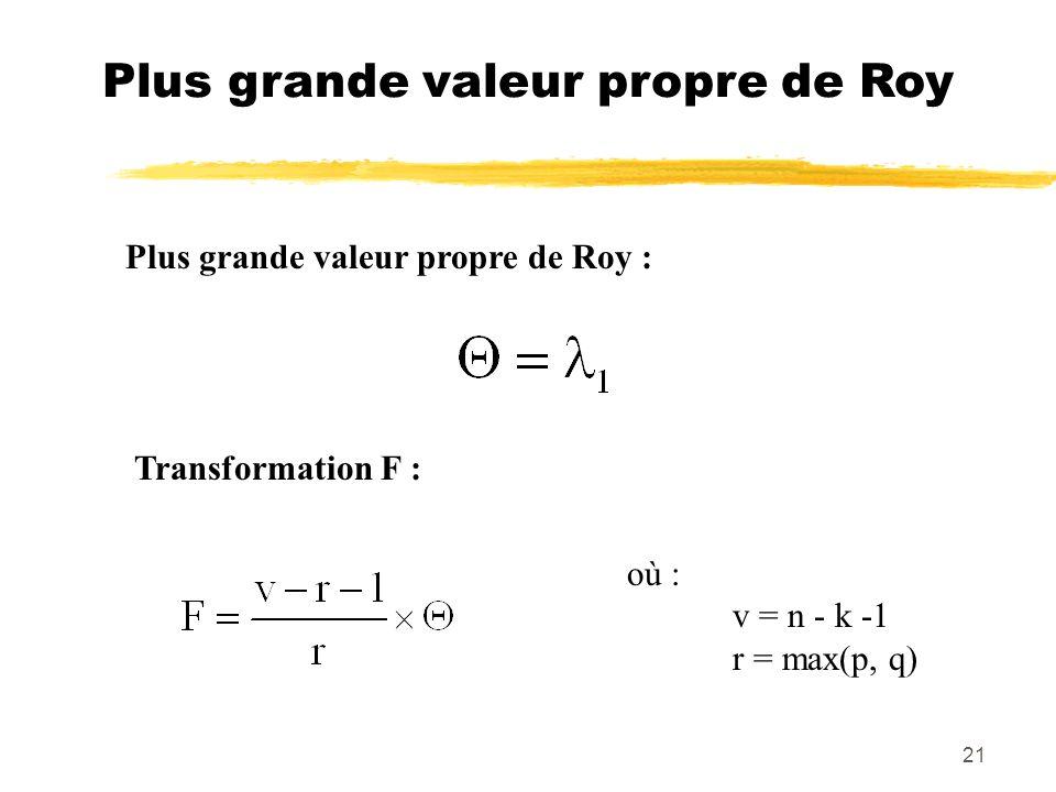 21 Plus grande valeur propre de Roy Plus grande valeur propre de Roy : Transformation F : où : v = n - k -1 r = max(p, q)