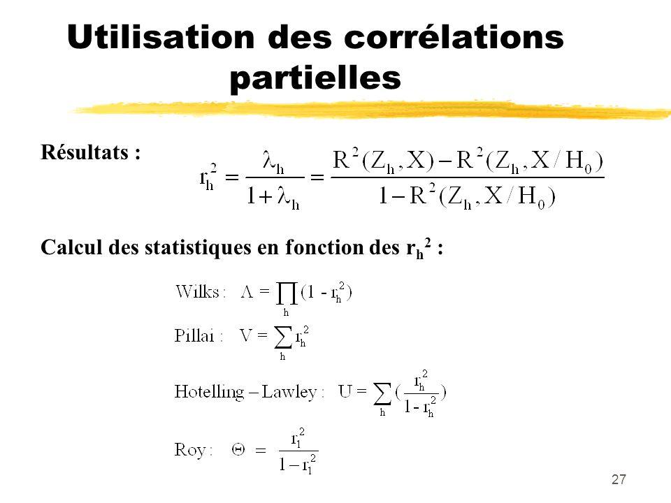27 Utilisation des corrélations partielles Résultats : Calcul des statistiques en fonction des r h 2 :