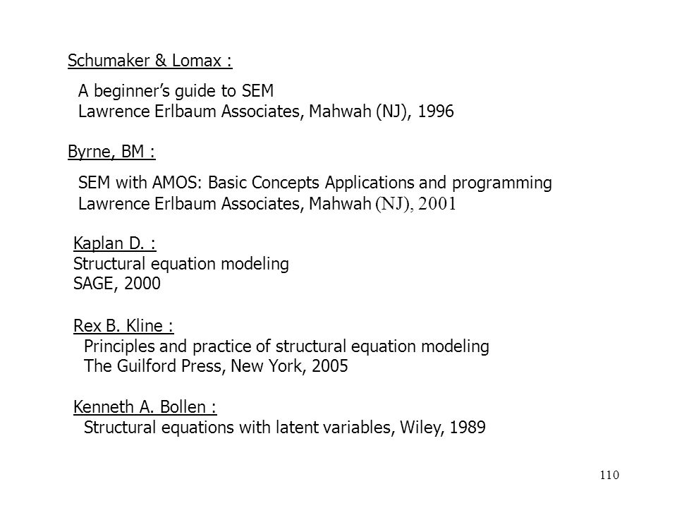 110 Schumaker & Lomax : A beginners guide to SEM Lawrence Erlbaum Associates, Mahwah (NJ), 1996 Byrne, BM : SEM with AMOS: Basic Concepts Applications and programming Lawrence Erlbaum Associates, Mahwah (NJ), 2001 Kaplan D.