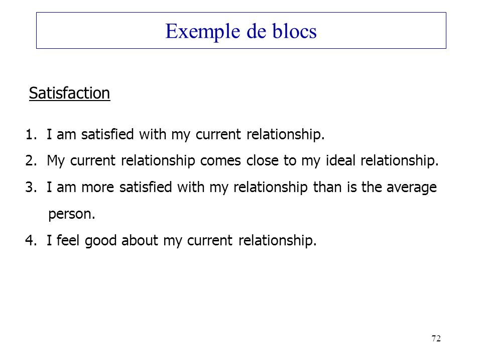 72 Exemple de blocs Satisfaction 1. I am satisfied with my current relationship. 2. My current relationship comes close to my ideal relationship. 3. I