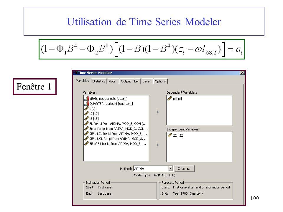 100 Utilisation de Time Series Modeler Fenêtre 1