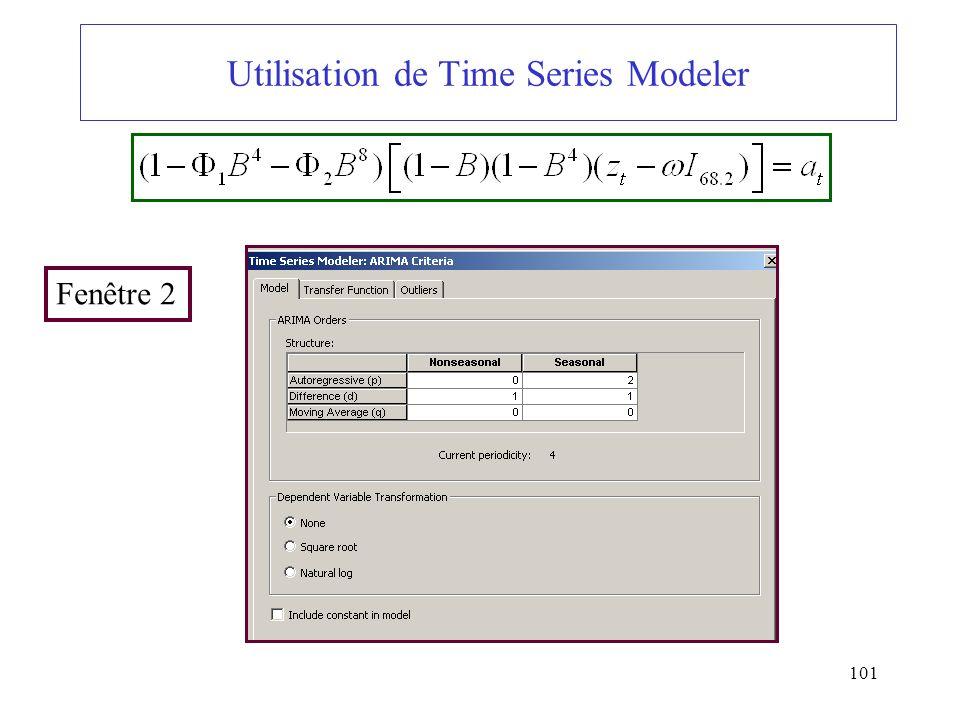 101 Utilisation de Time Series Modeler Fenêtre 2