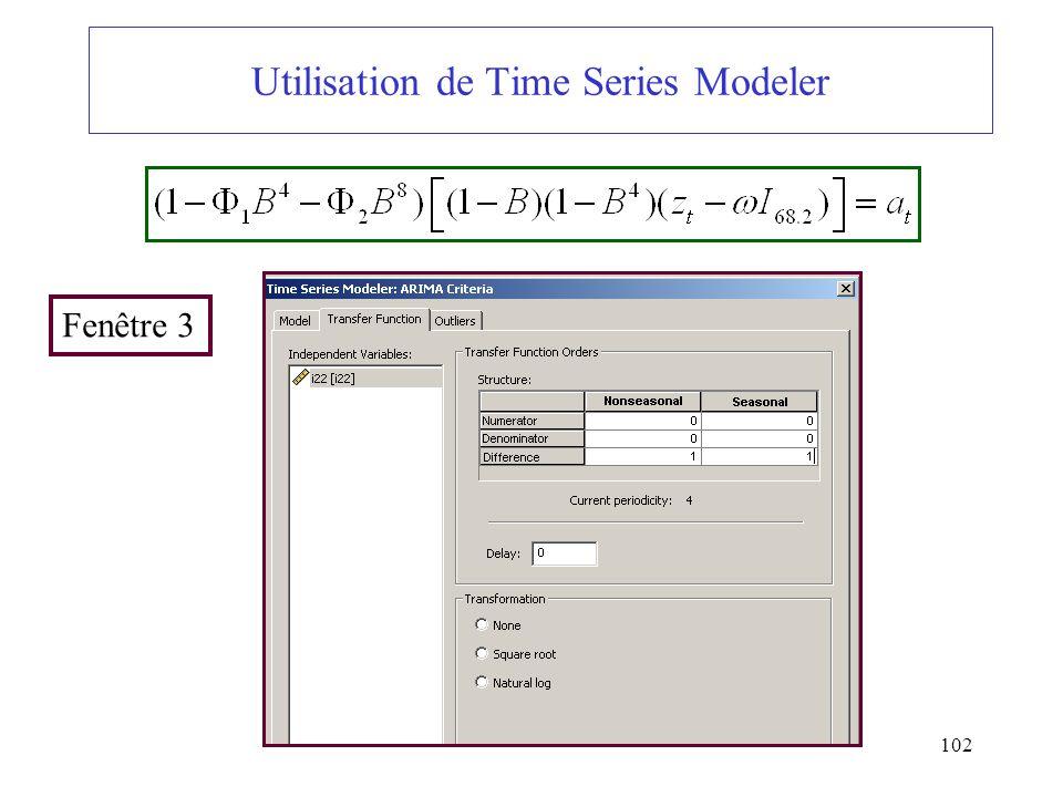 102 Utilisation de Time Series Modeler Fenêtre 3