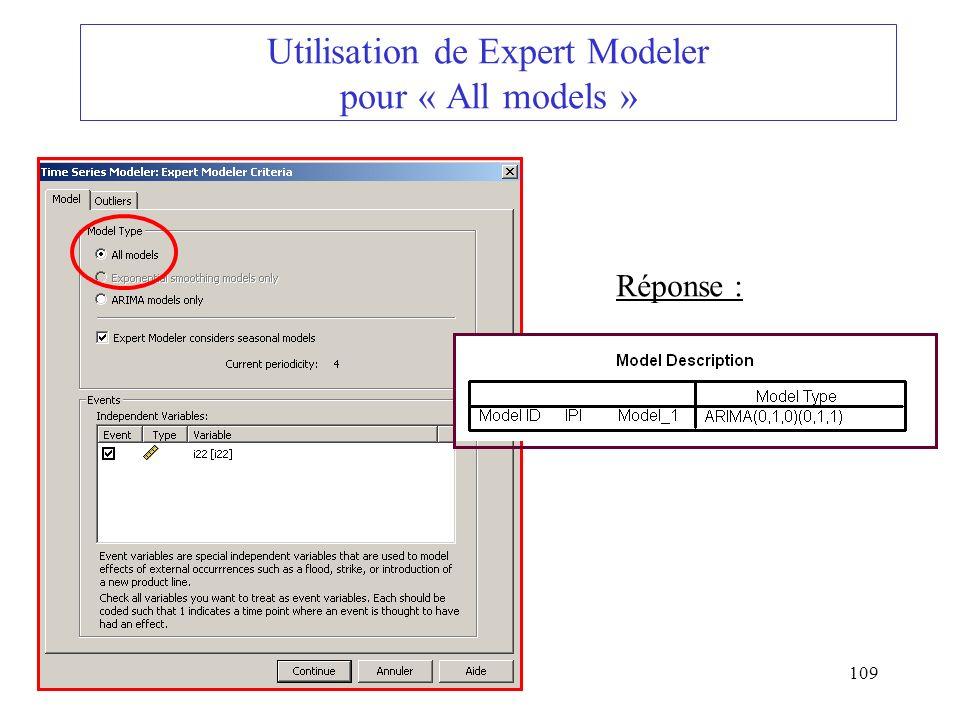 109 Utilisation de Expert Modeler pour « All models » Réponse :