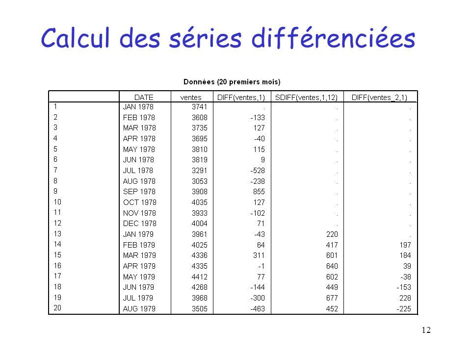 12 Calcul des séries différenciées