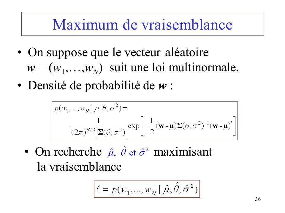 36 Maximum de vraisemblance On suppose que le vecteur aléatoire w = (w 1,…,w N ) suit une loi multinormale. Densité de probabilité de w : On recherche