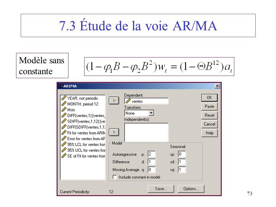 73 7.3 Étude de la voie AR/MA Modèle sans constante