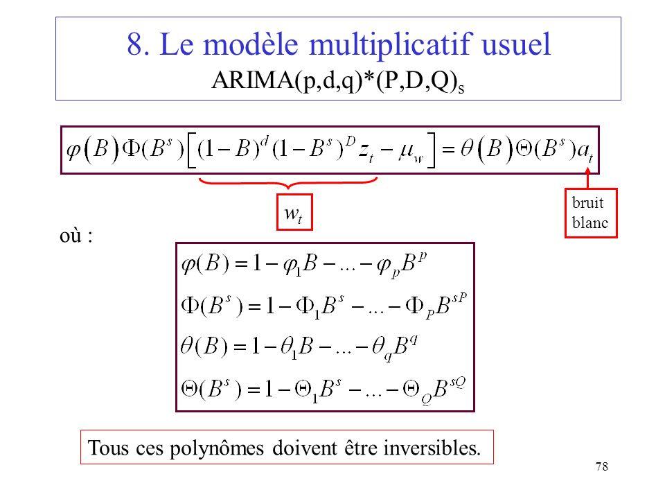 78 8. Le modèle multiplicatif usuel ARIMA(p,d,q)*(P,D,Q) s où : Tous ces polynômes doivent être inversibles. wtwt bruit blanc